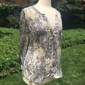 Joie Gray and Tan Animal Print Silk Blouse